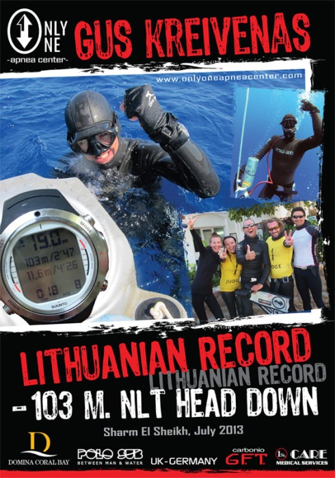 national record no limits Gus Kreivenas